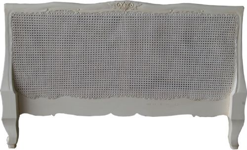 Louis XV Rattan Headboard in Antique White